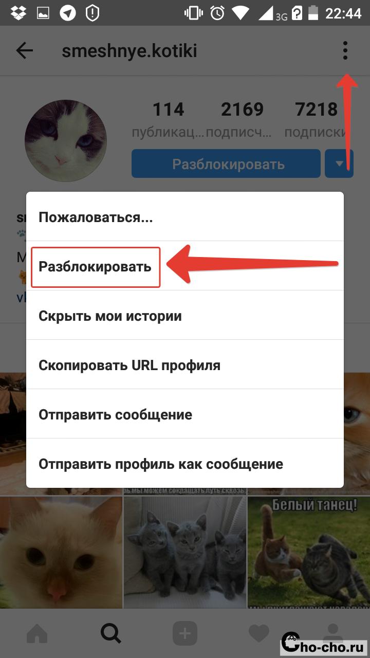 как разблокировать в instagram пользователя